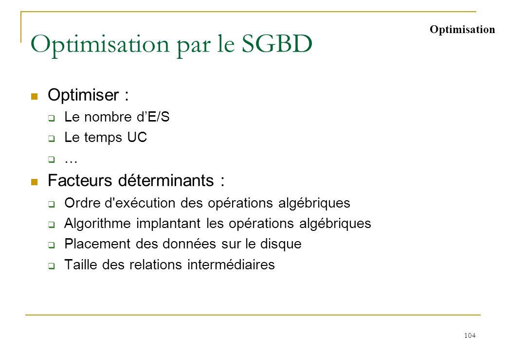 104 Optimisation par le SGBD Optimiser : Le nombre dE/S Le temps UC … Facteurs déterminants : Ordre d'exécution des opérations algébriques Algorithme