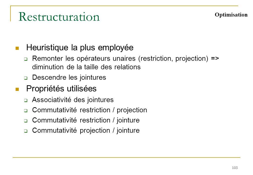 105 Restructuration Heuristique la plus employée Remonter les opérateurs unaires (restriction, projection) => diminution de la taille des relations De