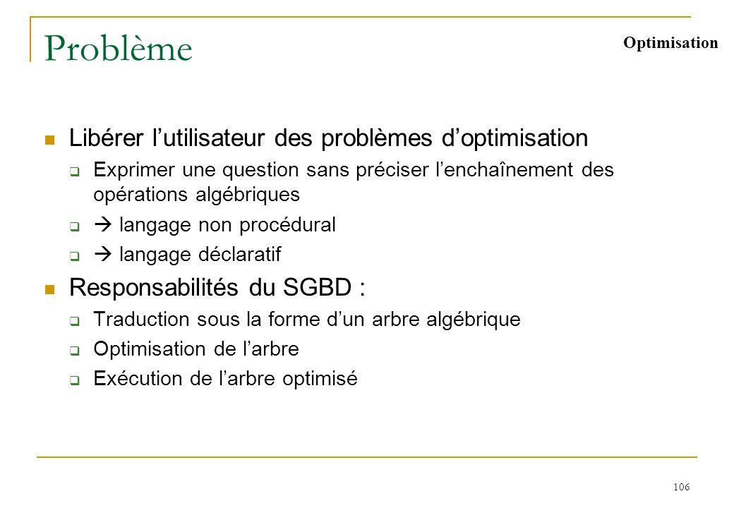 106 Problème Libérer lutilisateur des problèmes doptimisation Exprimer une question sans préciser lenchaînement des opérations algébriques langage non