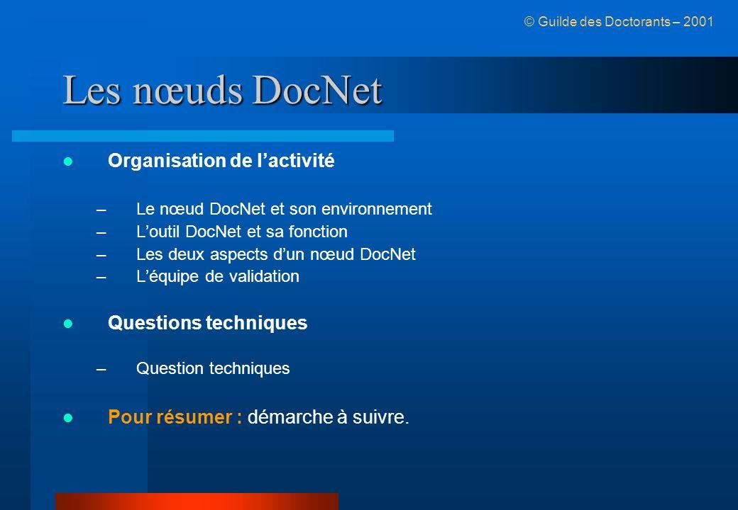 Les nœuds DocNet Organisation de lactivité –Le nœud DocNet et son environnement –Loutil DocNet et sa fonction –Les deux aspects dun nœud DocNet –Léquipe de validation Questions techniques –Question techniques Pour résumer : démarche à suivre.