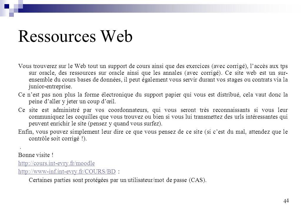 4 4 Ressources Web Vous trouverez sur le Web tout un support de cours ainsi que des exercices (avec corrigé), laccès aux tps sur oracle, des ressources sur oracle ainsi que les annales (avec corrigé).