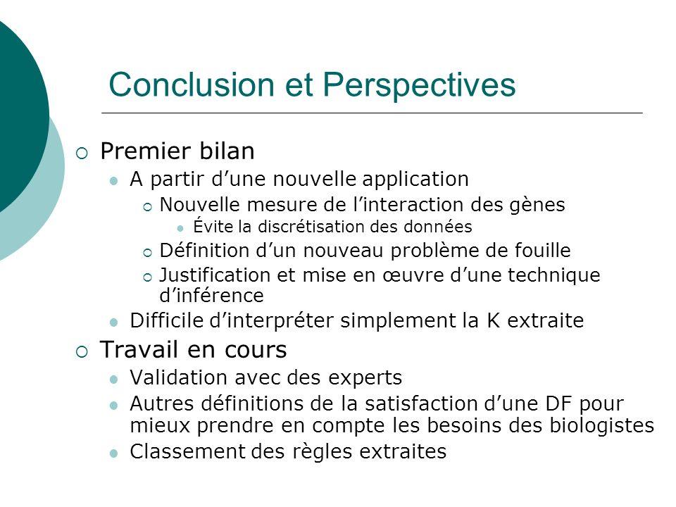 Conclusion et Perspectives Premier bilan A partir dune nouvelle application Nouvelle mesure de linteraction des gènes Évite la discrétisation des donn