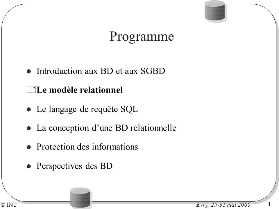 © INT 1 Evry, 29-31 mai 2000 Programme Introduction aux BD et aux SGBD +Le modèle relationnel Le langage de requête SQL La conception dune BD relation