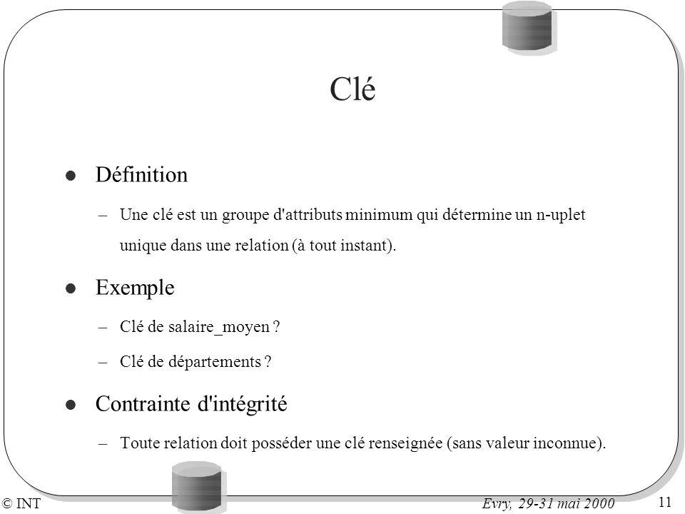 © INT 11 Evry, 29-31 mai 2000 Clé Définition –Une clé est un groupe d'attributs minimum qui détermine un n-uplet unique dans une relation (à tout inst