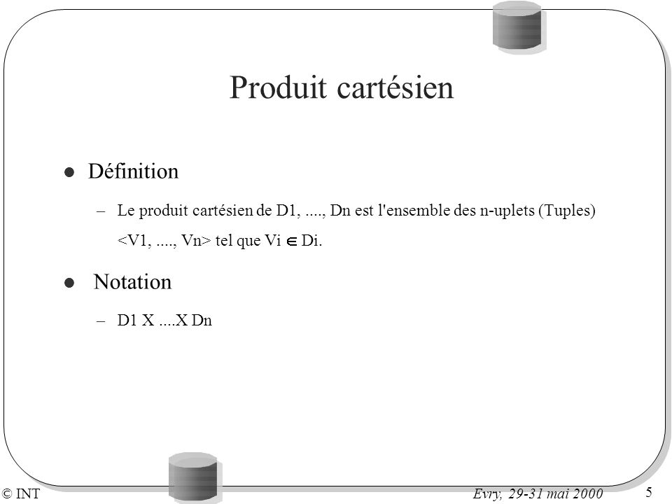 © INT 5 Evry, 29-31 mai 2000 Produit cartésien Définition –Le produit cartésien de D1,...., Dn est l'ensemble des n-uplets (Tuples) tel que Vi Di. Not