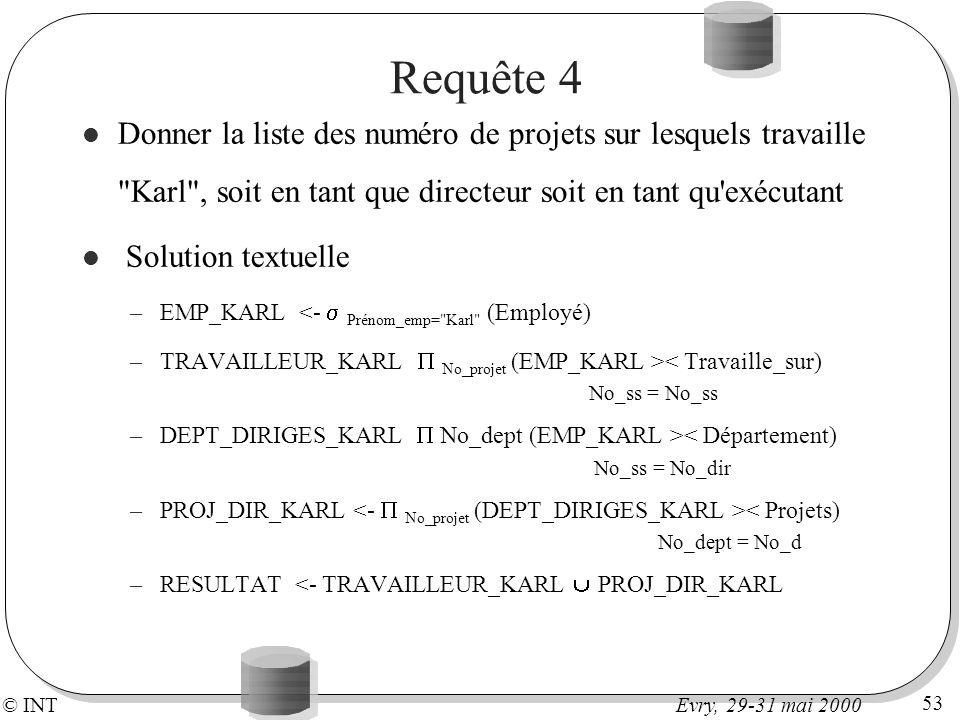 © INT 53 Evry, 29-31 mai 2000 Requête 4 Donner la liste des numéro de projets sur lesquels travaille