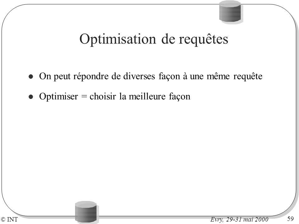 © INT 59 Evry, 29-31 mai 2000 Optimisation de requêtes On peut répondre de diverses façon à une même requête Optimiser = choisir la meilleure façon