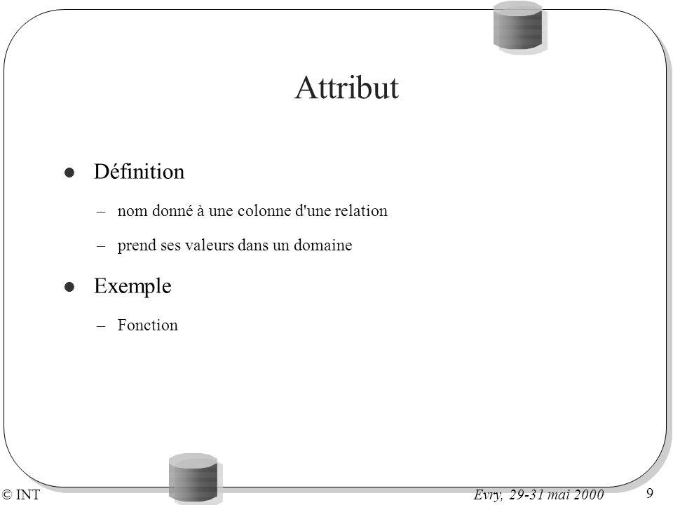 © INT 9 Evry, 29-31 mai 2000 Attribut Définition –nom donné à une colonne d'une relation –prend ses valeurs dans un domaine Exemple –Fonction