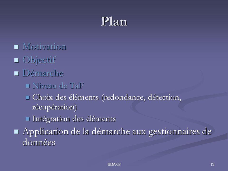 13BDA 02 Plan Motivation Motivation Objectif Objectif Démarche Démarche Niveau de TaF Niveau de TaF Choix des éléments (redondance, détection, récupération) Choix des éléments (redondance, détection, récupération) Intégration des éléments Intégration des éléments Application de la démarche aux gestionnaires de données Application de la démarche aux gestionnaires de données