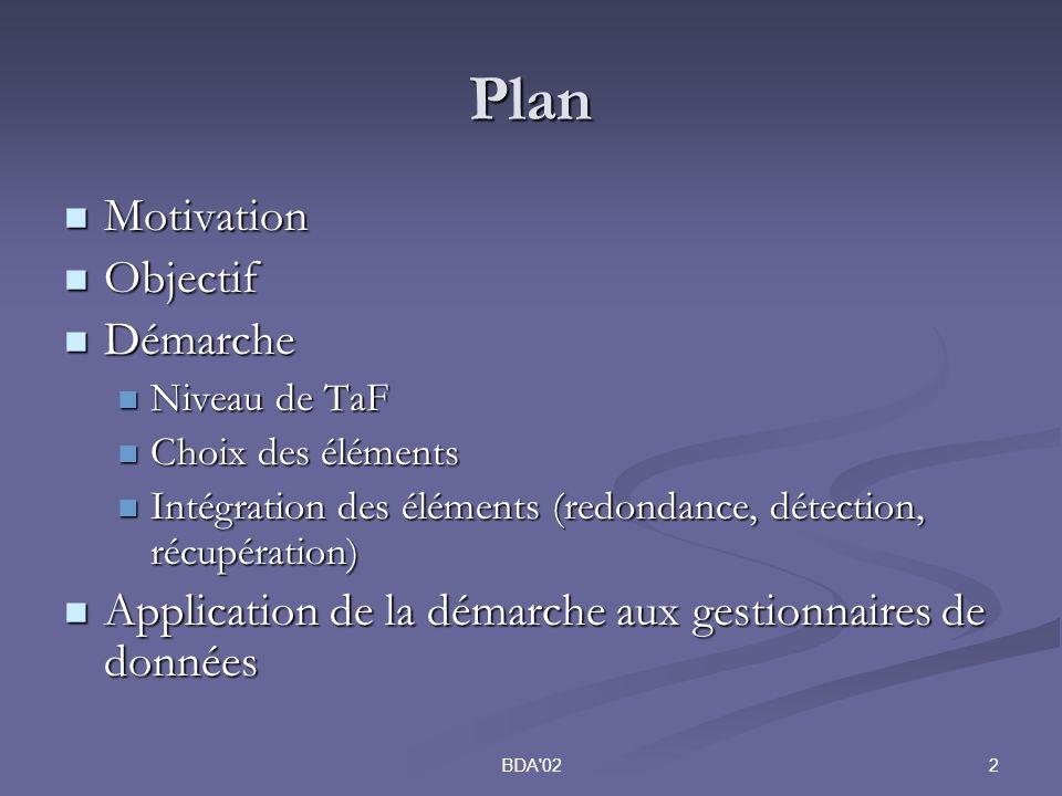 2BDA 02 Plan Motivation Motivation Objectif Objectif Démarche Démarche Niveau de TaF Niveau de TaF Choix des éléments Choix des éléments Intégration des éléments (redondance, détection, récupération) Intégration des éléments (redondance, détection, récupération) Application de la démarche aux gestionnaires de données Application de la démarche aux gestionnaires de données