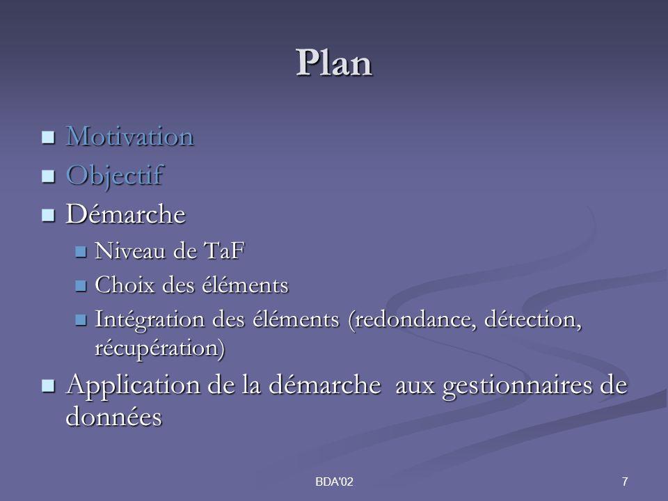 7BDA 02 Plan Motivation Motivation Objectif Objectif Démarche Démarche Niveau de TaF Niveau de TaF Choix des éléments Choix des éléments Intégration des éléments (redondance, détection, récupération) Intégration des éléments (redondance, détection, récupération) Application de la démarche aux gestionnaires de données Application de la démarche aux gestionnaires de données