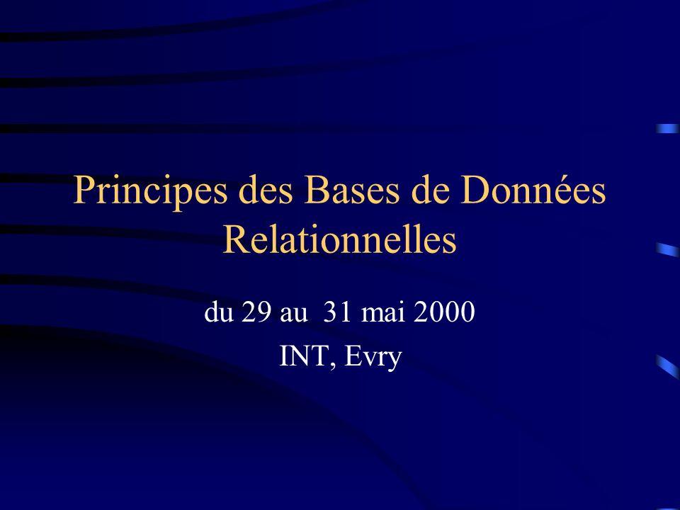 © INTEvry, 29-31 mai 2000 2 Programme Introduction aux BD et aux SGBD Le modèle relationnel Le langage de requête SQL La conception dune BD relationnelle Protection des informations Perspectives des BD