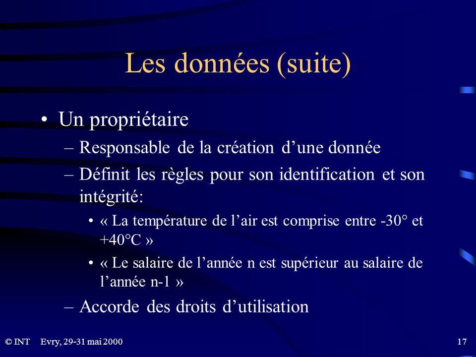 © INTEvry, 29-31 mai 2000 17 Les données (suite) Un propriétaire –Responsable de la création dune donnée –Définit les règles pour son identification e