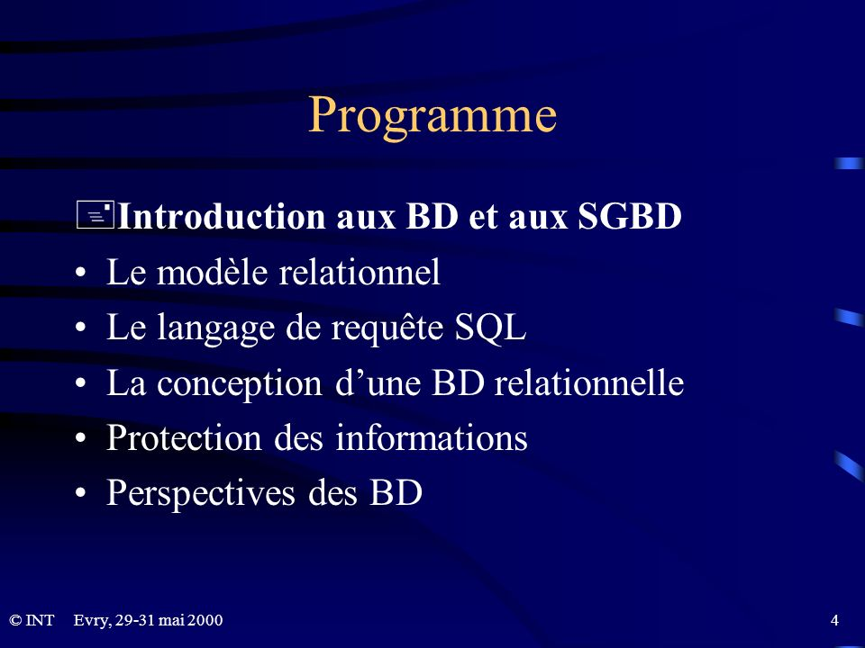 © INTEvry, 29-31 mai 2000 5 Bases de données et SI BD: support technique pour la gestion des SI BD: environnement de développement des SI BD: élément stratégique dans larchitecture des SI (fonctionnalités, évolution, fiabilité, sécurité)