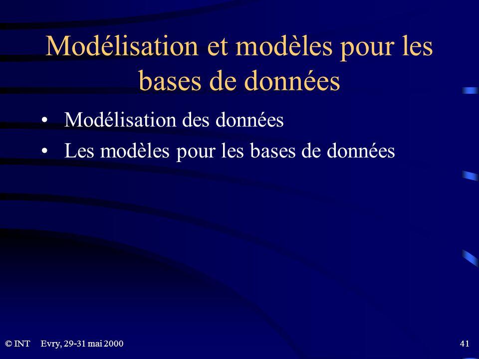 © INTEvry, 29-31 mai 2000 41 Modélisation et modèles pour les bases de données Modélisation des données Les modèles pour les bases de données