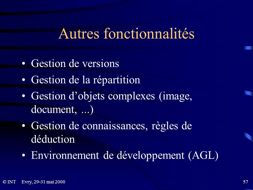 © INTEvry, 29-31 mai 2000 57 Autres fonctionnalités Gestion de versions Gestion de la répartition Gestion dobjets complexes (image, document,...) Gest