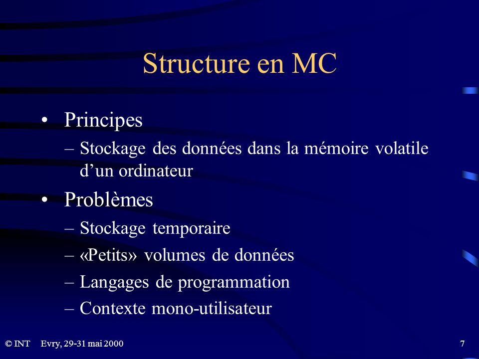 © INTEvry, 29-31 mai 2000 7 Structure en MC Principes –Stockage des données dans la mémoire volatile dun ordinateur Problèmes –Stockage temporaire –«P
