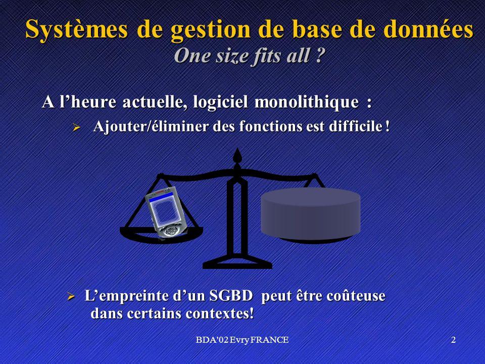 BDA'02 Evry FRANCE2 Systèmes de gestion de base de données One size fits all ? A lheure actuelle, logiciel monolithique : Ajouter/éliminer des fonctio
