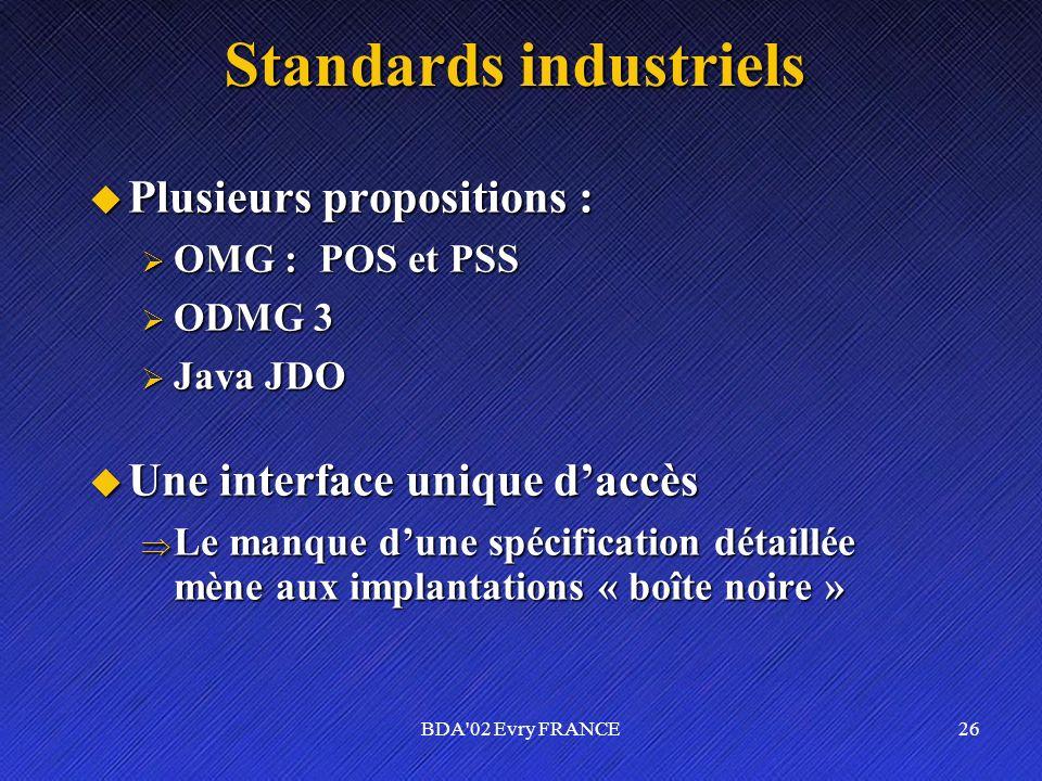 BDA'02 Evry FRANCE26 Standards industriels Plusieurs propositions : Plusieurs propositions : OMG : POS et PSS OMG : POS et PSS ODMG 3 ODMG 3 Java JDO