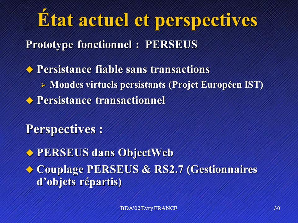 BDA'02 Evry FRANCE30 État actuel et perspectives Prototype fonctionnel : PERSEUS Persistance fiable sans transactions Persistance fiable sans transact