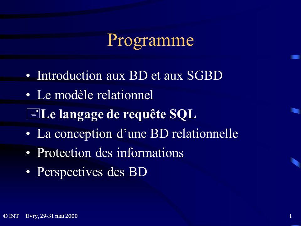 Evry, 29-31 mai 2000 1© INT Programme Introduction aux BD et aux SGBD Le modèle relationnel +Le langage de requête SQL La conception dune BD relationn