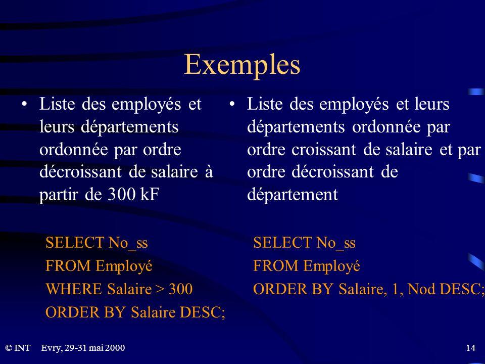 Evry, 29-31 mai 2000 14© INT Exemples Liste des employés et leurs départements ordonnée par ordre décroissant de salaire à partir de 300 kF SELECT No_