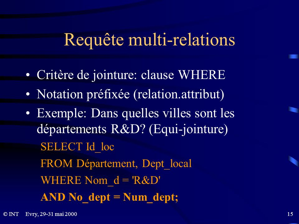 Evry, 29-31 mai 2000 15© INT Requête multi-relations Critère de jointure: clause WHERE Notation préfixée (relation.attribut) Exemple: Dans quelles vil