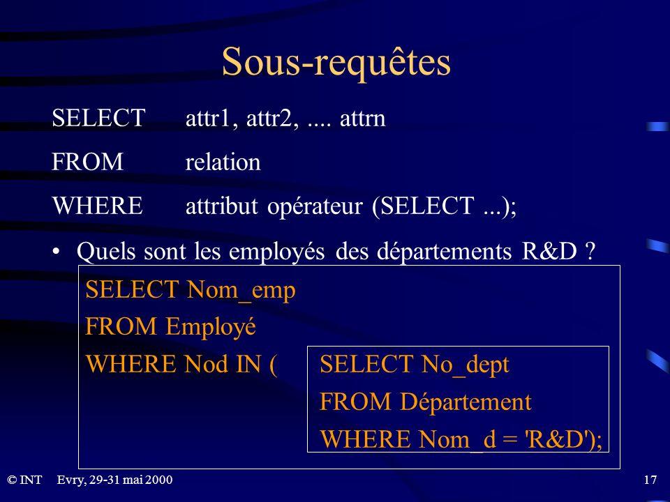 Evry, 29-31 mai 2000 17© INT Sous-requêtes SELECT attr1, attr2,.... attrn FROM relation WHERE attribut opérateur (SELECT...); Quels sont les employés