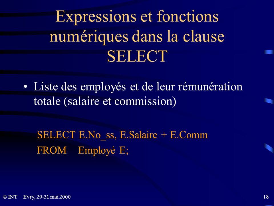 Evry, 29-31 mai 2000 18© INT Expressions et fonctions numériques dans la clause SELECT Liste des employés et de leur rémunération totale (salaire et c