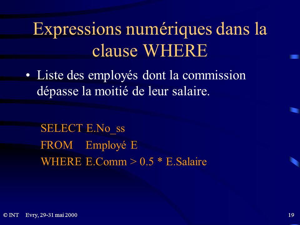 Evry, 29-31 mai 2000 19© INT Expressions numériques dans la clause WHERE Liste des employés dont la commission dépasse la moitié de leur salaire. SELE