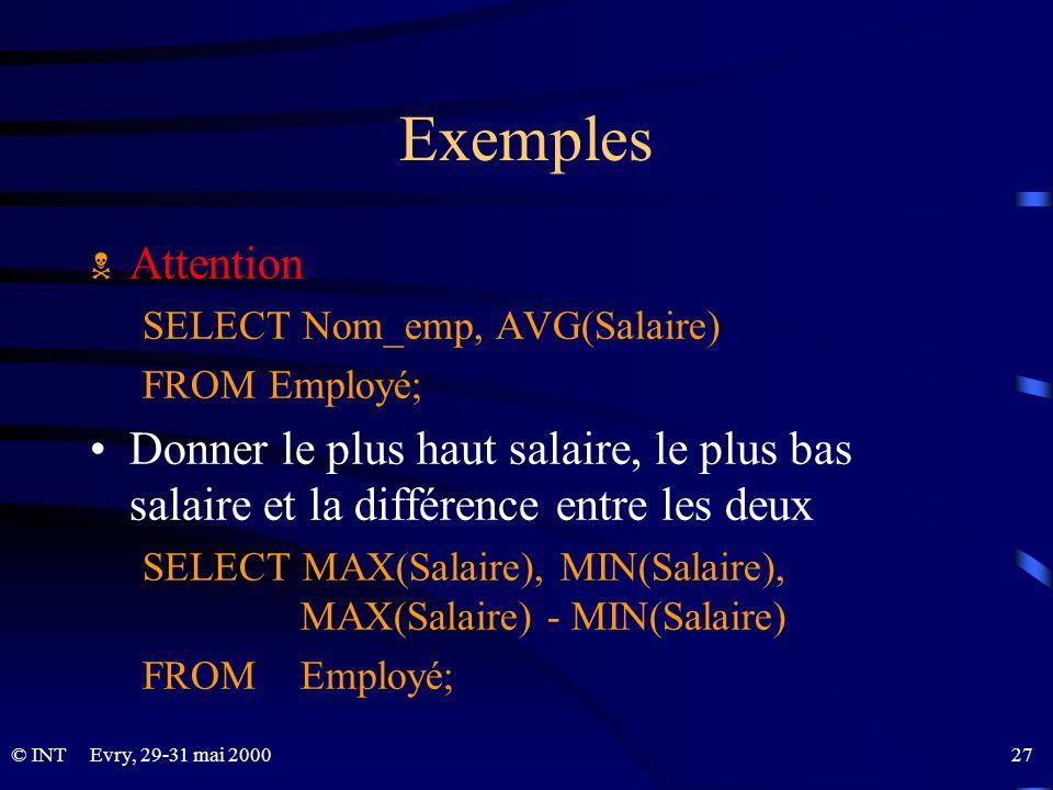 Evry, 29-31 mai 2000 27© INT Exemples Attention SELECT Nom_emp, AVG(Salaire) FROM Employé; Donner le plus haut salaire, le plus bas salaire et la diff