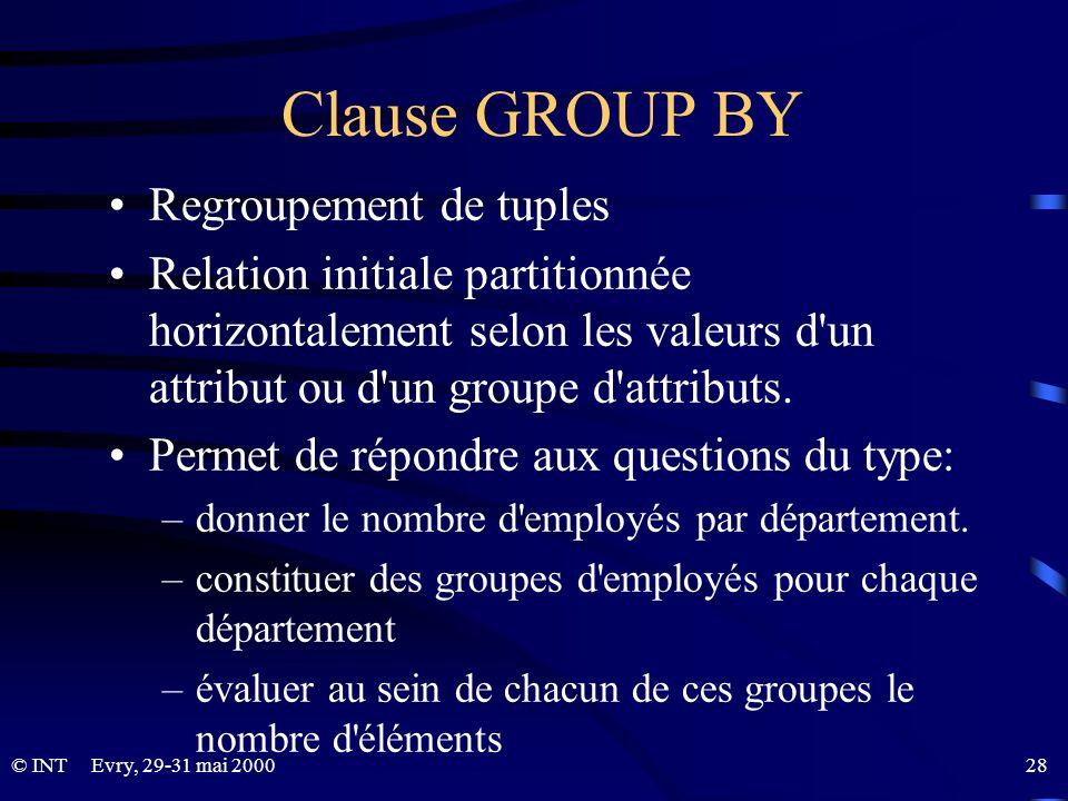 Evry, 29-31 mai 2000 28© INT Clause GROUP BY Regroupement de tuples Relation initiale partitionnée horizontalement selon les valeurs d'un attribut ou