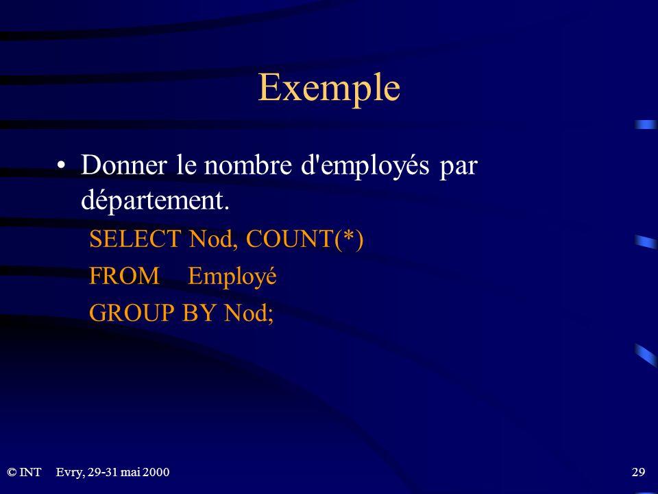 Evry, 29-31 mai 2000 29© INT Exemple Donner le nombre d'employés par département. SELECT Nod, COUNT(*) FROM Employé GROUP BY Nod;