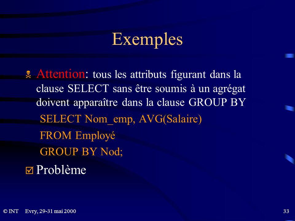 Evry, 29-31 mai 2000 33© INT Exemples Attention: tous les attributs figurant dans la clause SELECT sans être soumis à un agrégat doivent apparaître da