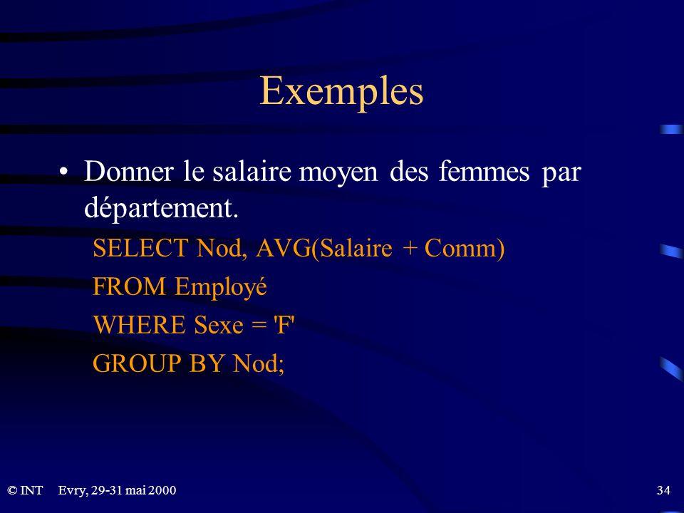 Evry, 29-31 mai 2000 34© INT Exemples Donner le salaire moyen des femmes par département. SELECT Nod, AVG(Salaire + Comm) FROM Employé WHERE Sexe = 'F