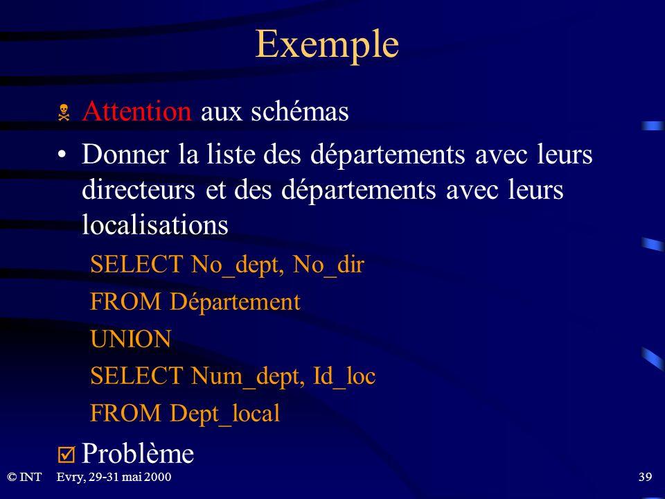 Evry, 29-31 mai 2000 39© INT Exemple Attention aux schémas Donner la liste des départements avec leurs directeurs et des départements avec leurs local
