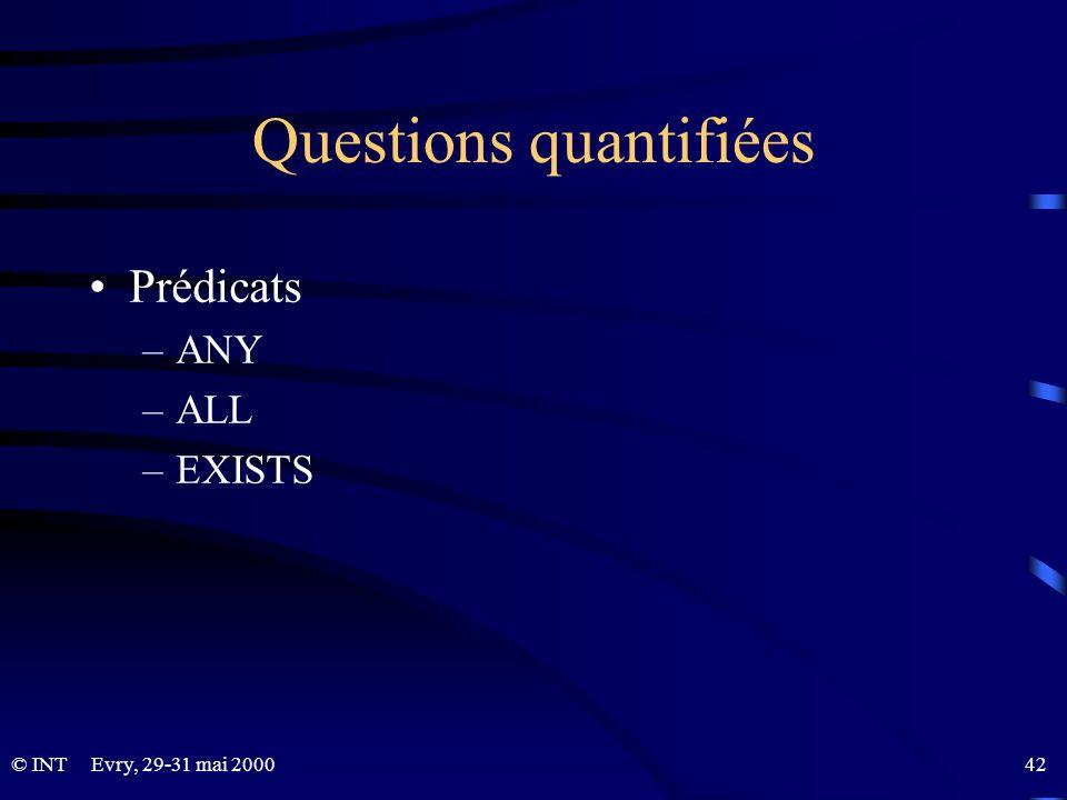 Evry, 29-31 mai 2000 42© INT Questions quantifiées Prédicats –ANY –ALL –EXISTS