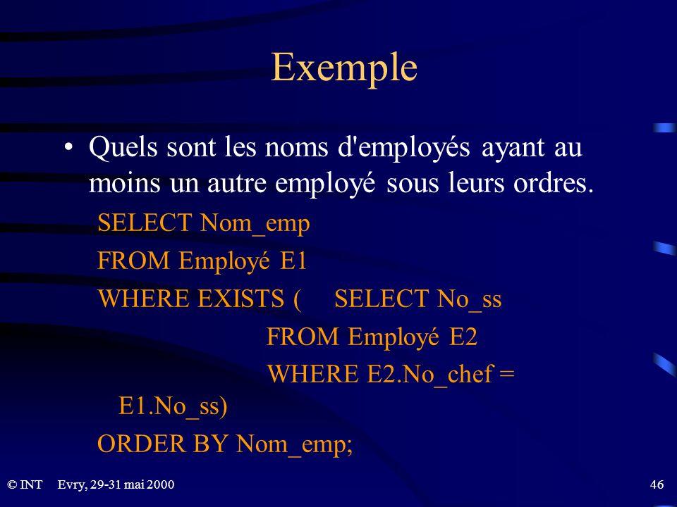 Evry, 29-31 mai 2000 46© INT Exemple Quels sont les noms d'employés ayant au moins un autre employé sous leurs ordres. SELECT Nom_emp FROM Employé E1