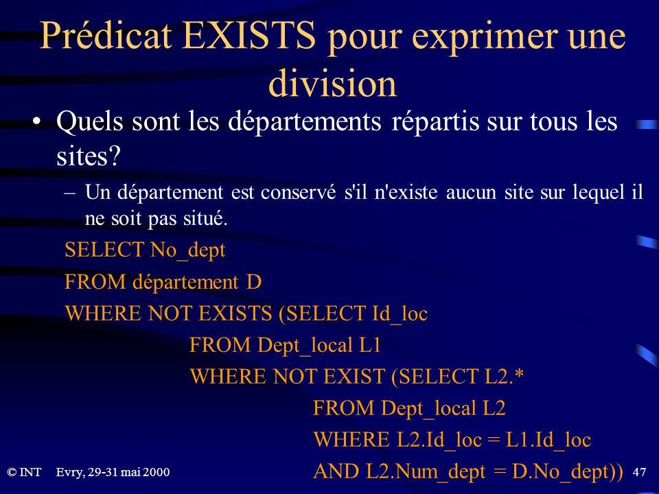 Evry, 29-31 mai 2000 47© INT Prédicat EXISTS pour exprimer une division Quels sont les départements répartis sur tous les sites? –Un département est c