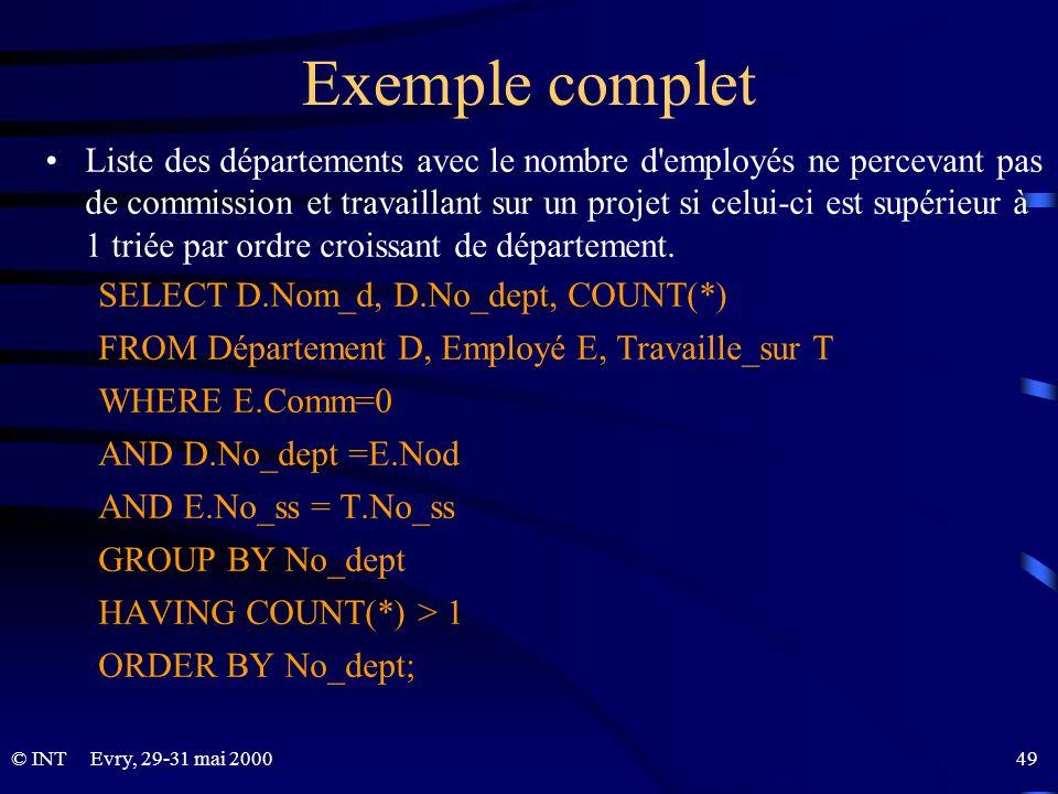 Evry, 29-31 mai 2000 49© INT Exemple complet Liste des départements avec le nombre d'employés ne percevant pas de commission et travaillant sur un pro