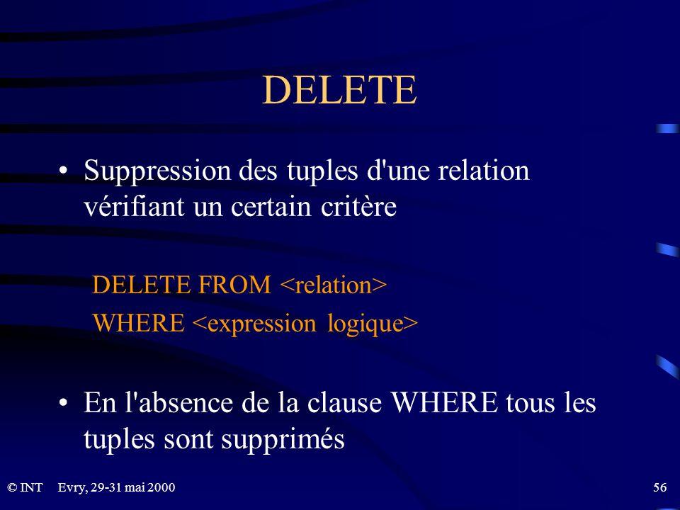 Evry, 29-31 mai 2000 56© INT DELETE Suppression des tuples d'une relation vérifiant un certain critère DELETE FROM WHERE En l'absence de la clause WHE