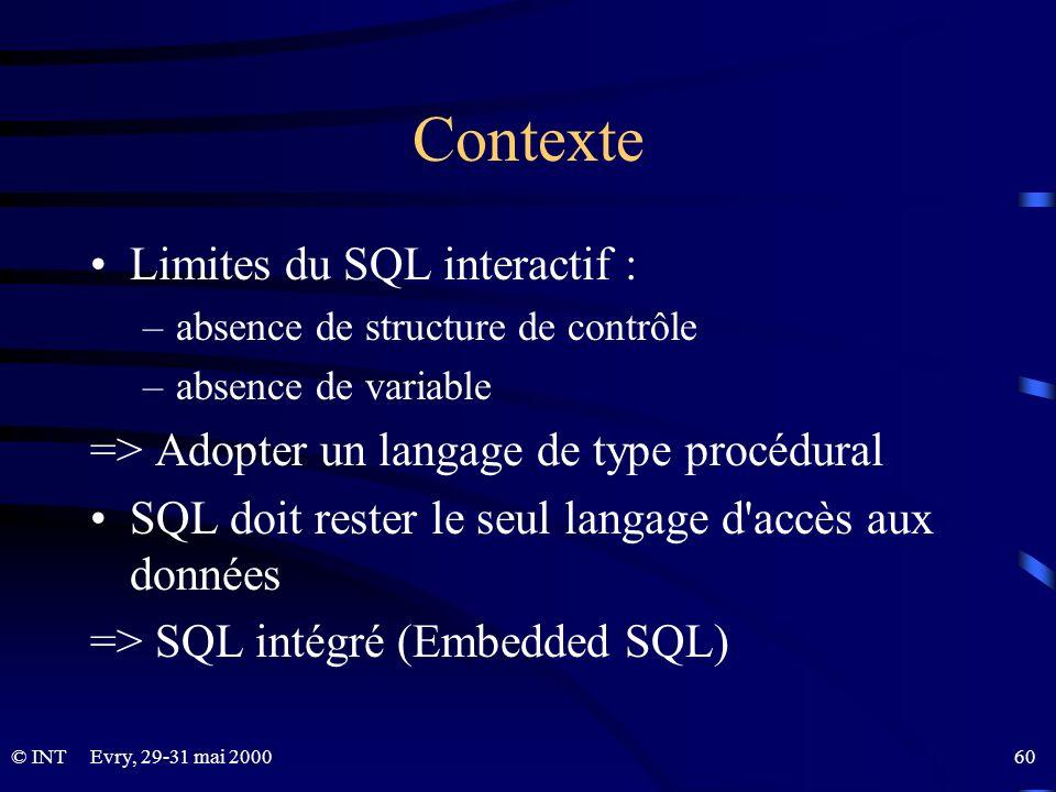 Evry, 29-31 mai 2000 60© INT Contexte Limites du SQL interactif : –absence de structure de contrôle –absence de variable => Adopter un langage de type