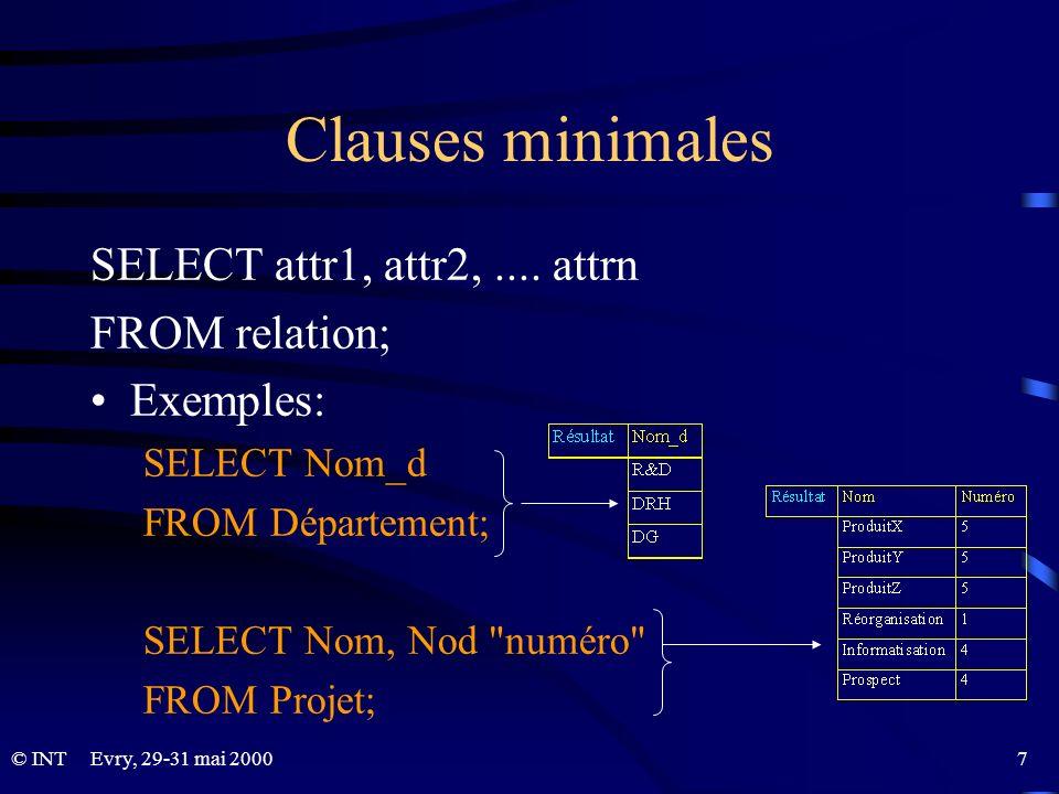 Evry, 29-31 mai 2000 58© INT TRUNCATE Suppression de tous les tuples d une relation TRUNCATE TABLE relation; Vider la relation projets (après un archivage par exemple) TRUNCATE Projet;