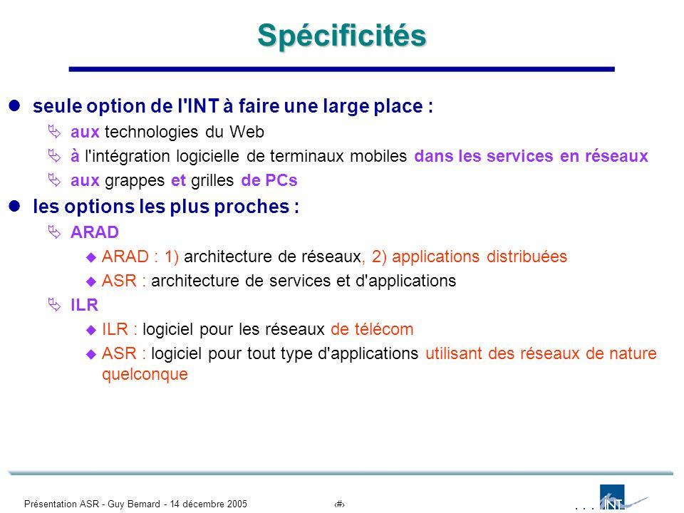 Présentation ASR - Guy Bernard - 14 décembre 200511Spécificités seule option de l'INT à faire une large place : aux technologies du Web à l'intégratio