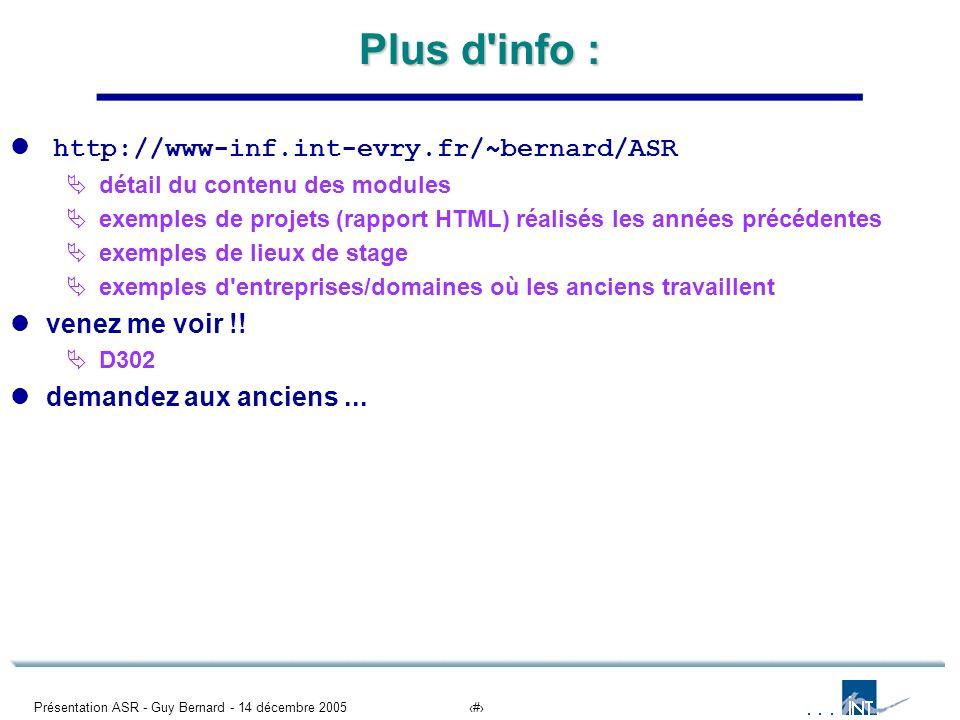 Présentation ASR - Guy Bernard - 14 décembre 200512 Plus d'info : http://www-inf.int-evry.fr/~bernard/ASR détail du contenu des modules exemples de pr