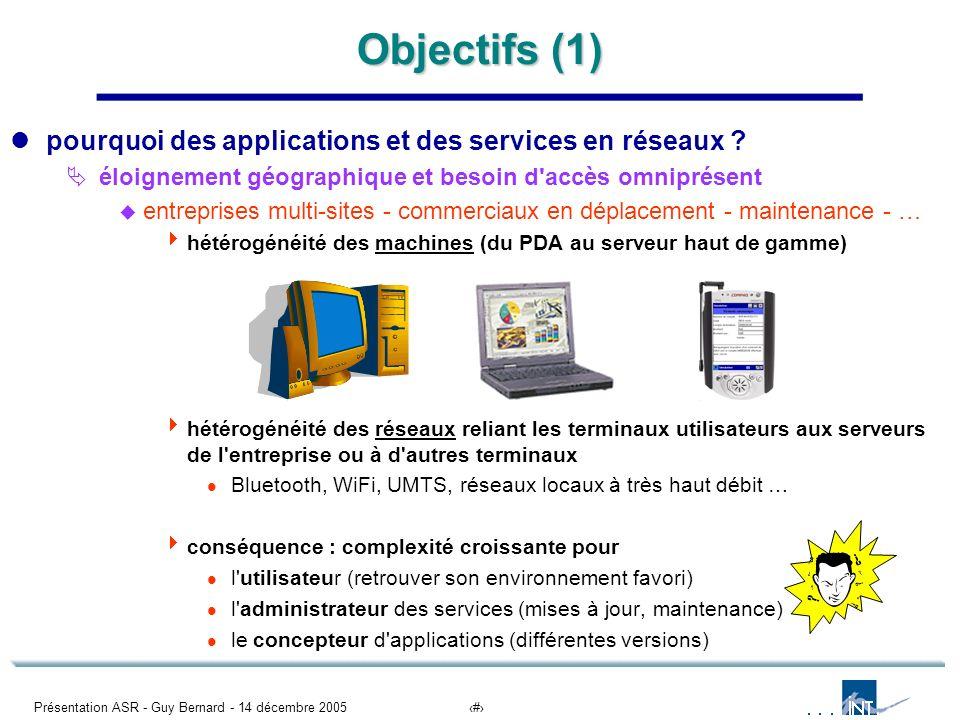 Présentation ASR - Guy Bernard - 14 décembre 20052 Objectifs (1) pourquoi des applications et des services en réseaux ? éloignement géographique et be