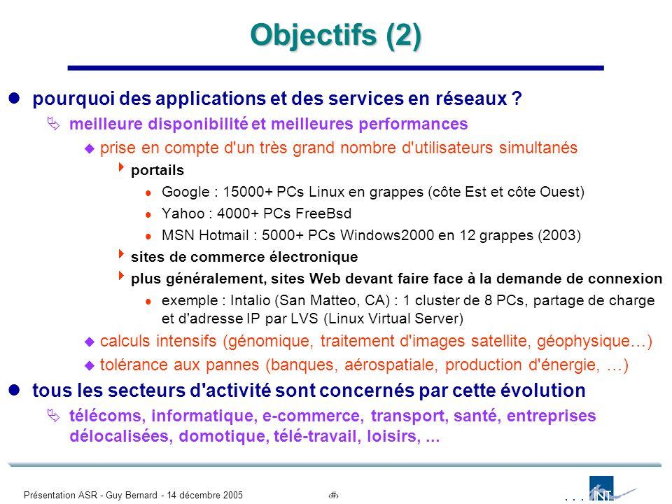 Présentation ASR - Guy Bernard - 14 décembre 20053 Objectifs (2) pourquoi des applications et des services en réseaux ? meilleure disponibilité et mei