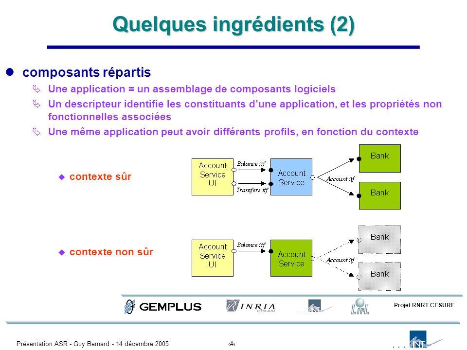 Présentation ASR - Guy Bernard - 14 décembre 20056 Quelques ingrédients (2) composants répartis Une application = un assemblage de composants logiciel