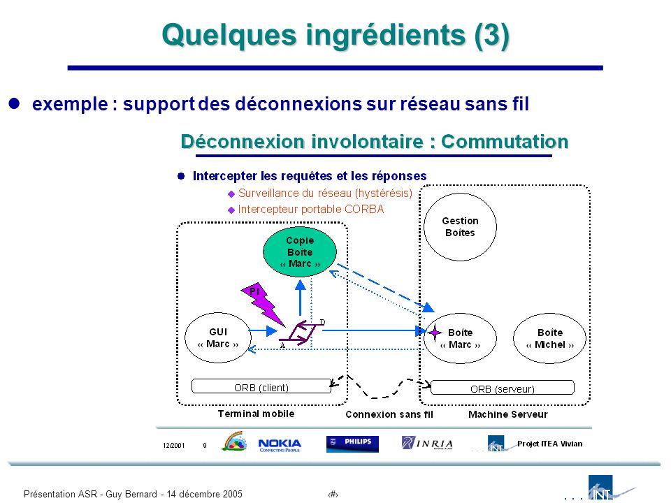 Présentation ASR - Guy Bernard - 14 décembre 20057 Quelques ingrédients (3) exemple : support des déconnexions sur réseau sans fil