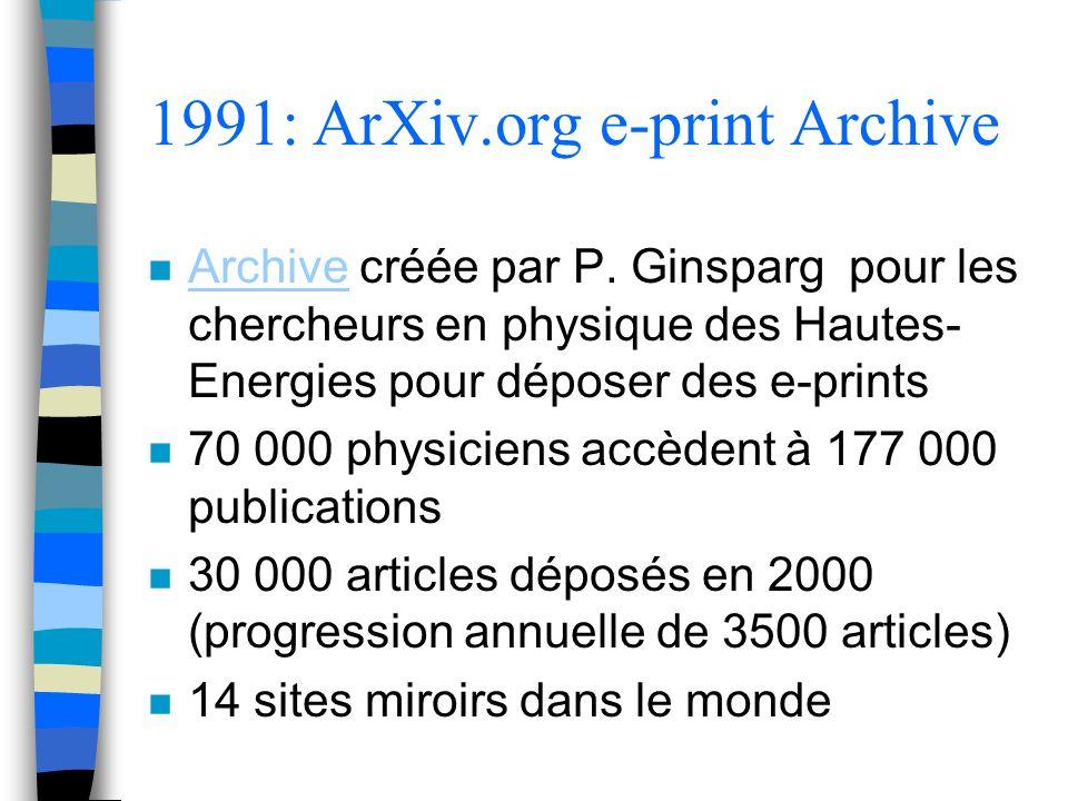 1991: ArXiv.org e-print Archive n Archive créée par P. Ginsparg pour les chercheurs en physique des Hautes- Energies pour déposer des e-prints Archive